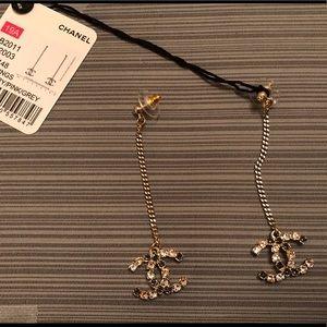 NIB Chanel dangling crystal CC logo earrings